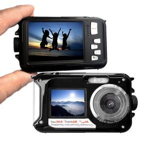 Image 4 - HD 1080P wodoodporny aparat cyfrowy podwójne ekrany (tył 2.7 cala + przód 1.8 cala) 16 krotny Zoom kamera podwodna Cam (DC998)