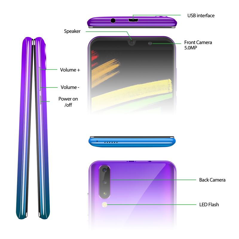 "XGODY P30 3G Smartphone 6"" 18:9 Android 9.0 2GB RAM 16GB ROM MTK6580 Quad Core Dual Sim 5MP Camera 2800mAh GPS WiFi Mobile Phone"