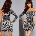 Lady Sexy Fashion  One Sleeve Leopard Meryl Dress Cross Nightwear DL2265