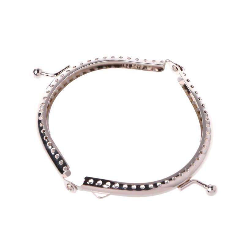 1PC  8.5cm Metal Coin Purse Bag DIY Craft Frame Kiss Clasp Lock Accessories  Fashion Women Bag Accessories  Silver