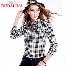 DUDALINA Women Long Sleeve Shirt 100% Cotton Lapel Plaid Shirt Women Fashion Casual Shirt Checkerboard Plaid Shirt Size S-3XL
