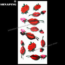 SHNAPIGN 3d Temporary Flash Tattoo Body Art Tatoo Sticker Sexy Lips 1 Sheet 19x9cm For Selfie EN71 FREE SHIPPING