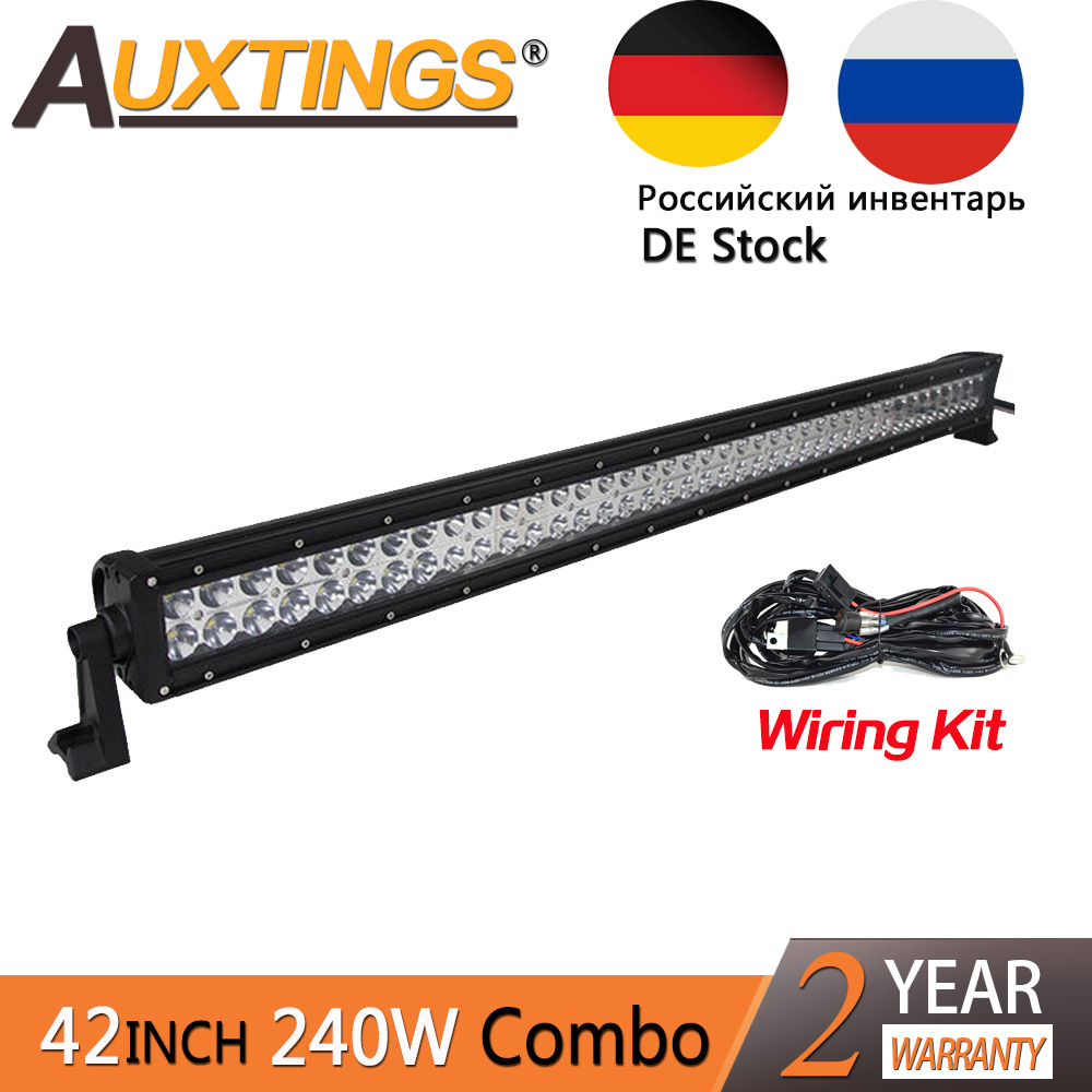 Auxtings combo beam led light bar work light 42 inch 42'' 240w 4x4 car driving lights wiring kit 12v 24000lm offroad 4x4