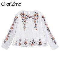 CharMma Vintage Floral Embroidery Blouse Shirt Women White Lace Mesh Flower Blouse Blusas 2017 Spring Autumn