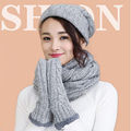 New Fashion Beanie Knitted Hat More Of Thick Velvet Scarf Gloves Women Winter Scarves 3 Pieces Women Caps Gorros Ski Gift 1529