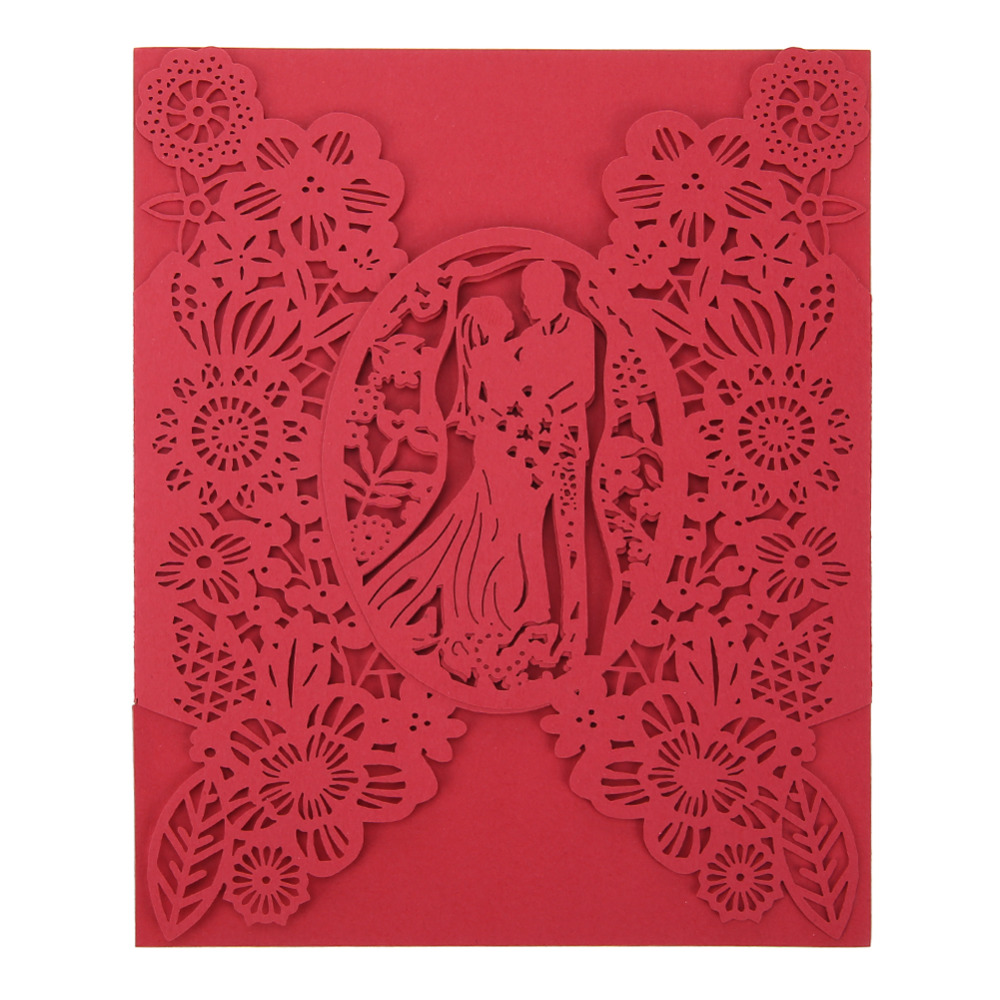 Hot Sale 10 Pcs Hollow Wedding Invitations Card Delicate Carved