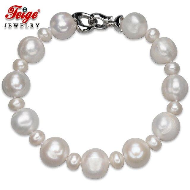 ФЕЙГЕ Классическом стиле 12-13 ММ Белый Естественное Пресноводное Большой Жемчуг Браслеты и Браслеты Для женщин White Pearl Strand Браслеты