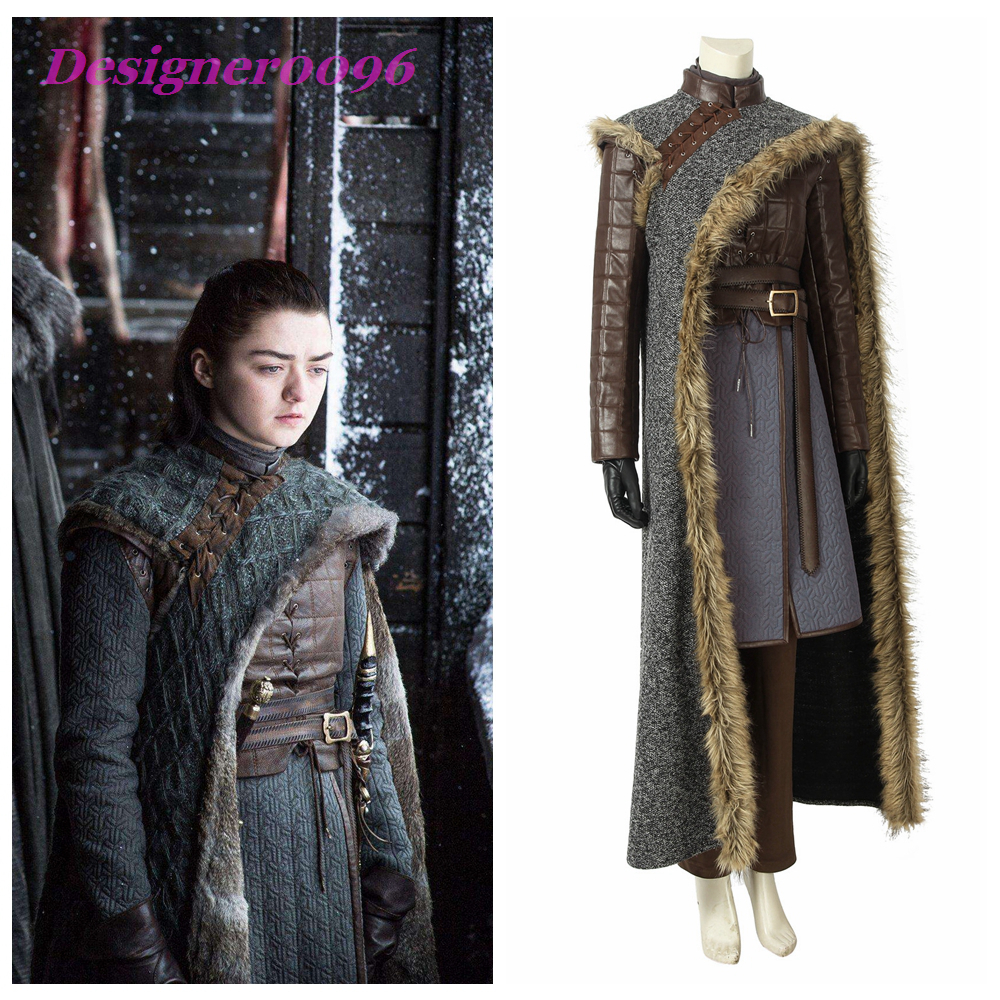 Game of Thrones Season 8 Cosplay Costumes Leading Roles Arya Stark Role Playing Costume Sets Stark