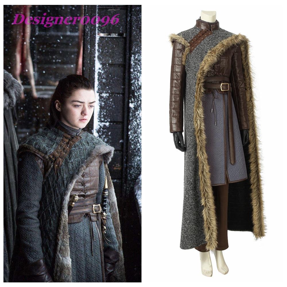 Game of Thrones saison 8 Cosplay Costumes principaux rôles Arya Stark jeu de rôle Costume ensembles Stark famille Assassins vêtements 2019