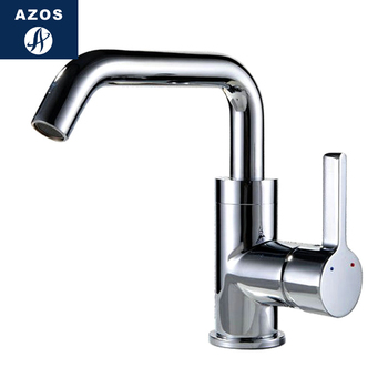 Azos Under Counter Basin Faucet Rotatable Wash Basin Brass Chrome Cold and Hot Switch  Continental Basin Bathroom Seven-shaped C