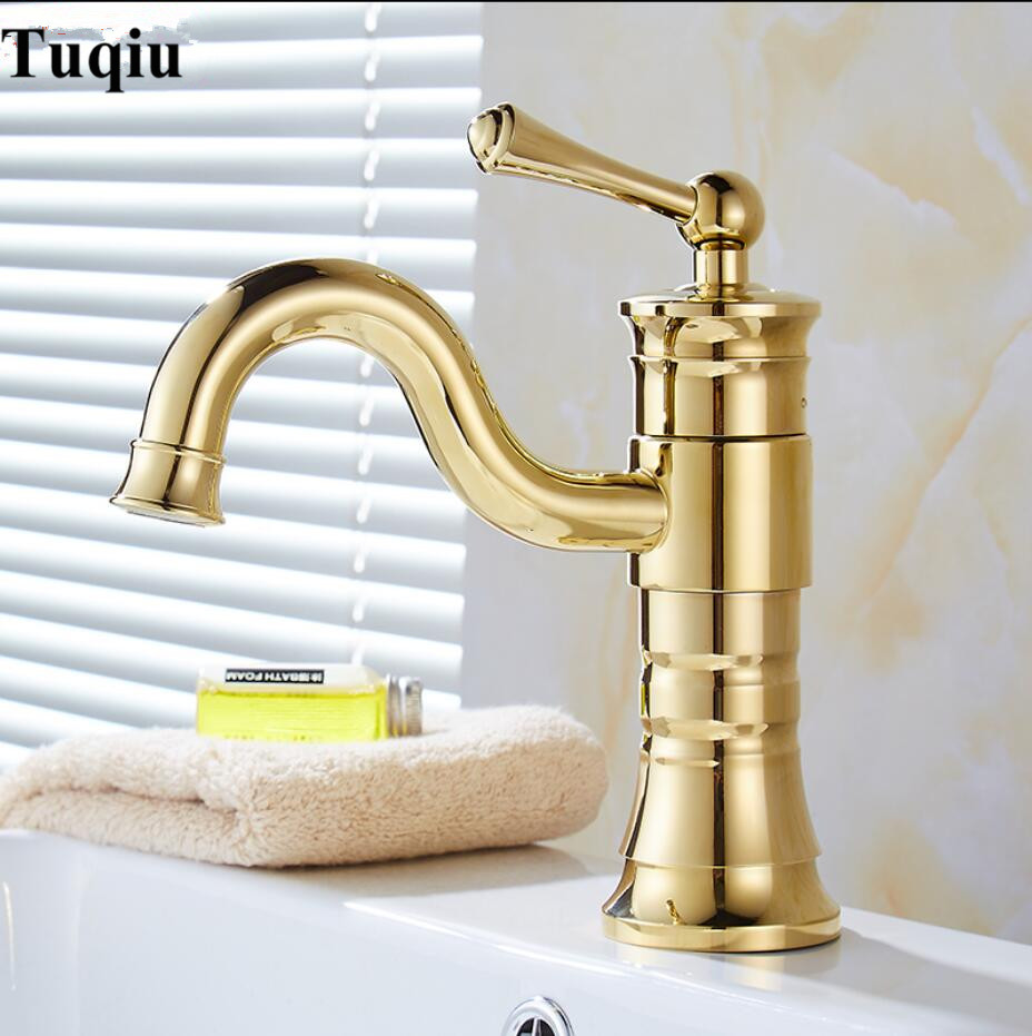Hot & Cold Brass single lever single lever gold Sink Faucet Bathroom Basin Faucet basin mixer tap unique single top lever waterfall basin mixer faucet gold color basin sink taps