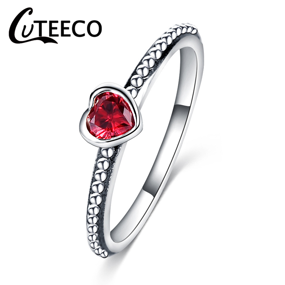 CUTEECO 3 Colors 925 Authentic Silver Color Ring Love Heart Brand Original Women Rings Wedding Jewelry Gift Dropshipping