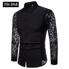 Men Lace Long Sleeve Luxury Floral Shirt 2019 Brand New Transparent Sexy Dress Shirts Male Club Party Black Lapel