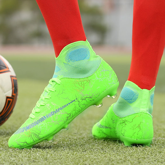 Outdoor Non-slip Football Boots Long Spikes & Short Spikes Ankle High Top Soccer Shoes Turf Futsal  Original  Football Shoes 45