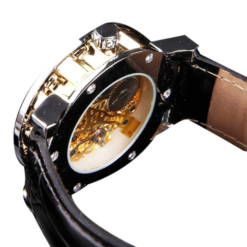 Mens Classic Black Leather Watches Gold Dial Skeleton Mechanical Sport Army Wrist Watch wholesale vF3