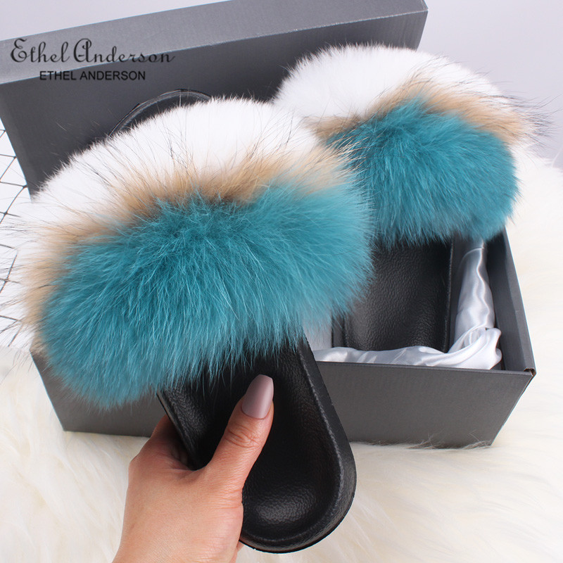 Ethel Anderson Genuine Fox Hair Slippers Lady Flip Flop Slides Summer Beach Fox Fur Slides Sandals Plus Shoes Woman