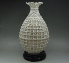 Chinese Decoration Handwork Carved openwork Dehua White Porcelain Vase & Base NR