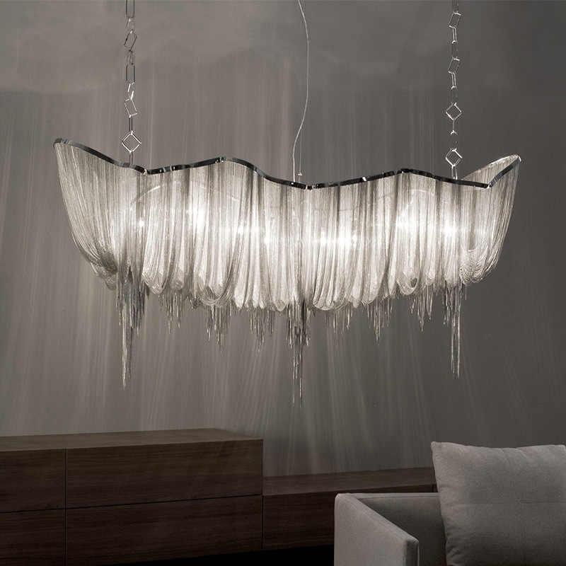 Современная серебряная алюминиевая люстра с цепочкой, роскошная инженерная конструкция, роскошная цепная лампа с кисточкой для отеля, декор для ресторана
