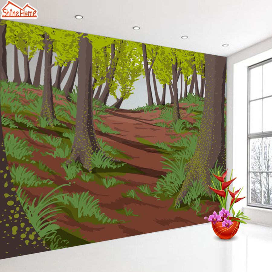 ShineHome-Large Custom Forest Tree 3D Wallpapers Wall Murals Contact Paper Home Decor Living Room Bedroom Wallpaper-Roll-Size shinehome skyline sea wave sunset seascape wallpaper rolls for 3d walls wallpapers for 3 d living rooms wall paper murals roll