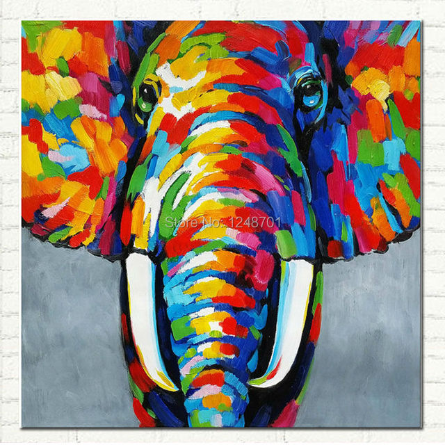 Pop Art Hand Painted Elephant Oil Painting On Canvas