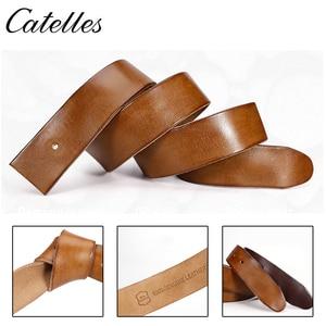 Image 5 - Catelles Cinturón de cuero genuino sin hebilla para hombre, cinturón masculino de diseño de alta calidad, sin Pin