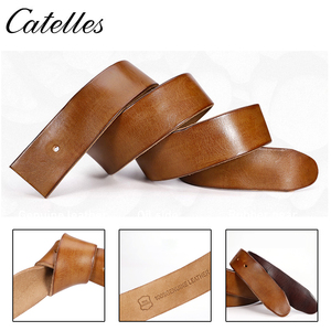 Image 5 - Catelles No Buckle Genuine Leather Belt Men Luxury Without Pin buckle Strap Male Jeans Designer Belts For Men Belts High Quality