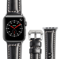 ROPS Crocodile Grain Business Style Genuine Leather Watch Strap For Apple Watch Series 3 Series 2