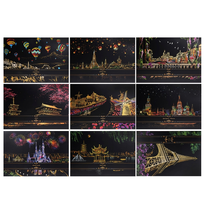 1Set Painting Decorative Paint Scraping Drawing Paper From Scratch Of The World Of Tourism Pictures Home Decor Birthday Gift