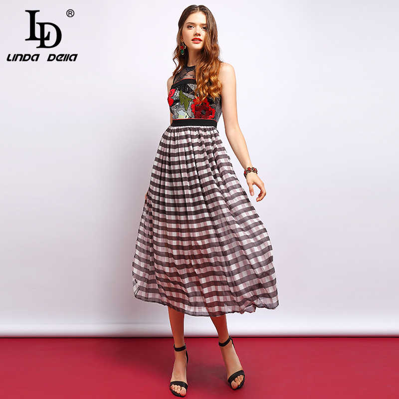 Женское платье в клетку LD LINDA DELLA, подиумное винтажное длинное платье без рукавов и с цветочной вышивкой, сетчатое платье в стиле пэчворк, лето 2019