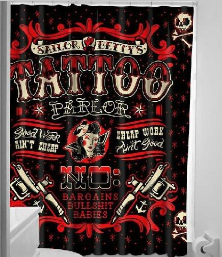 Street Punk Vintage 100 Polyester Washability Shower Curtain Japan Harajuku Art Style Rock Band Tatoo Bath
