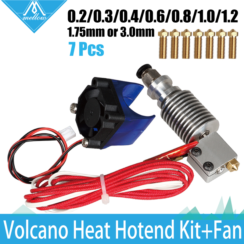 3D Printer  volcano kit- J-head Hotend with Single Cooling Fan for 1.75/3.0mm Universal Extruder 7 pcs 0.2mm-1.2mm Nozzle kit