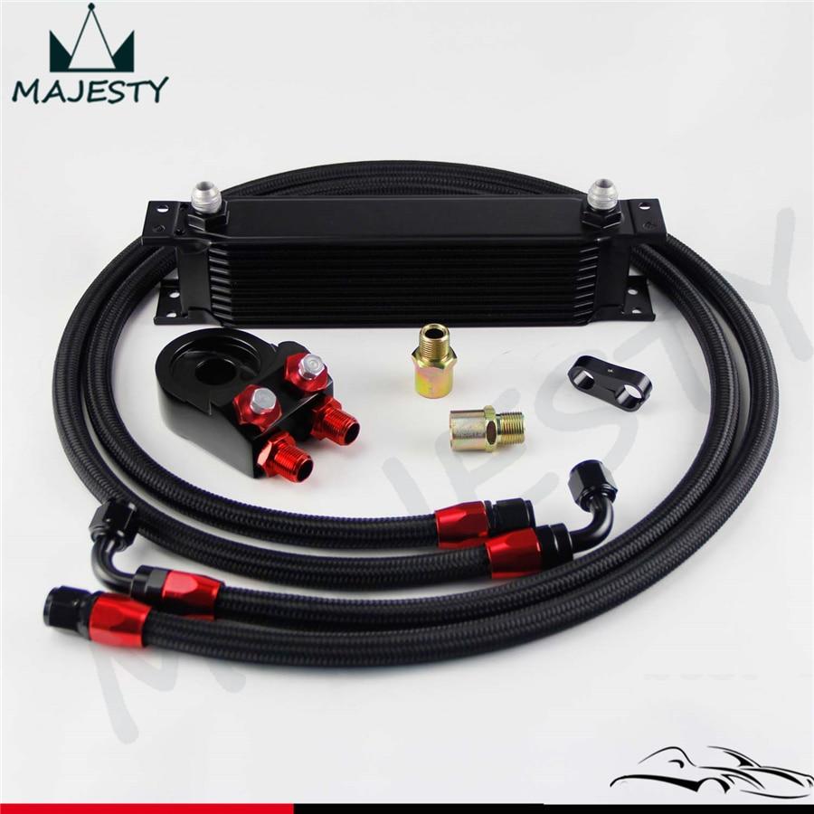 3//4*16 /& M20 Filter Adapter 16 Row AN8 Engine Oil Cooler 8AN Oil Hose Kit