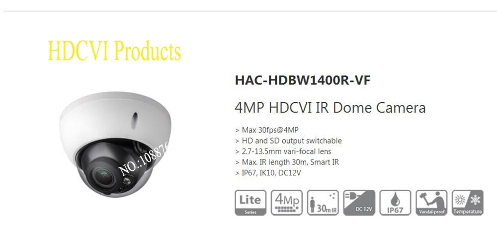 Free Shipping DAHUA CCTV Secirity Camera 4MP HDCVI IR Dome Camera IP67 IK10 Without Logo HAC-HDBW1400R-VF free shipping original english dahua security camera cctv 2mp hdcvi ir dome digital video camera without logo hac hdbw1200r vf