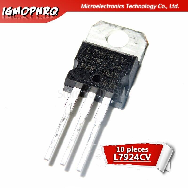 10pcs//lot L7924CV L7924 7924 TO-220 Voltage Regulators 24V 1.5A Negative New Original in Stock
