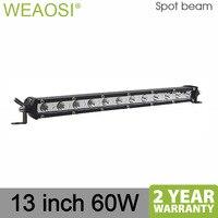Super Slim Light Single Row 60W 13inch Offroad Led Light Bar Combo Beam Led Work Light Driving Lamp for Truck