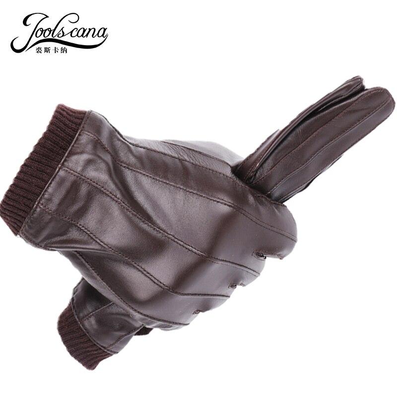 Joolscana guantes de cuero de los hombres de moda de invierno guantes de italiano importado oveja puede jugar pantalla táctil muñeca elástica