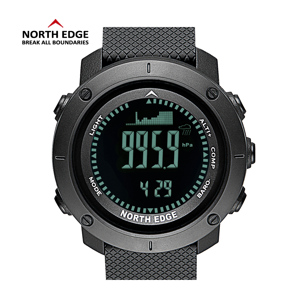 NORTH EDGE Men Sport Watch Altimeter Barometer Compass Thermometer Pedometer Worldtime Watches Digital Running Climbing Watches outdoor sports watches men skmei brand countdown led men s digital watch altimeter pressure compass thermometer reloj hombre