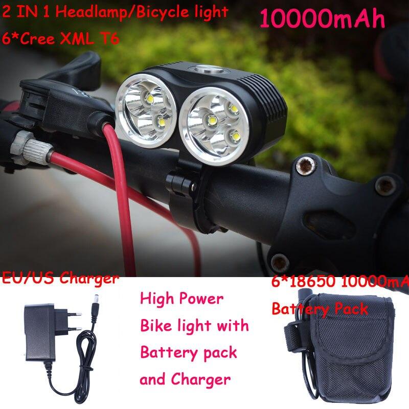 Новый Велосипедный Спорт лампа велосипед света 10000lm 6 х xm-l T6 LED Велосипедные фары 3 режима с 6x18650 8.4 В 10000 мАч Батарея пакет + Зарядное устройств...