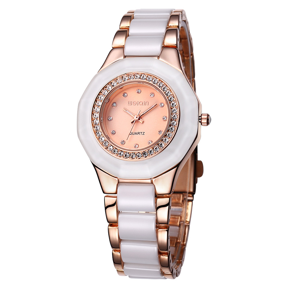 WEIQIN Brand Gold Watch Women Watches Rhinestone Shell Dial Analog Quartz watch Fashion Dress Ladies Watch