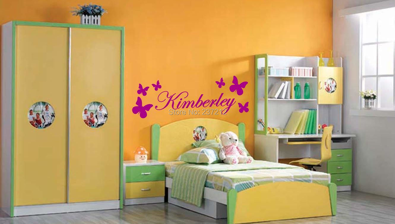 Personalised Butterfly Name Wall Sticker Wall Art Decal Any Name Kids Bedroom / Free shipping-in Wall Stickers from Home & Garden on Aliexpress.com | ...