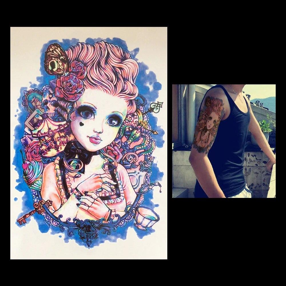Tatoo Impermeable A L Arriere Manches Bras Autocollant De Tatouage Temporaire Faux Demon Pour Fille Belle Et Fille Hb004 Femme Art Corporel Aliexpress