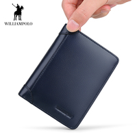 WilliamPOLO 2018 Wallet for Men Genuine Leather Bifold Stylish Wallet Credit Card Holder Multi Card Case Purse With 2 ID Window