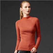 Новинка 2017 года европейские женские высокие эластичные вязаные свитера пуловер женский осень-зима с длинным рукавом тонкий сексуальный плотно пуловеры для девочек