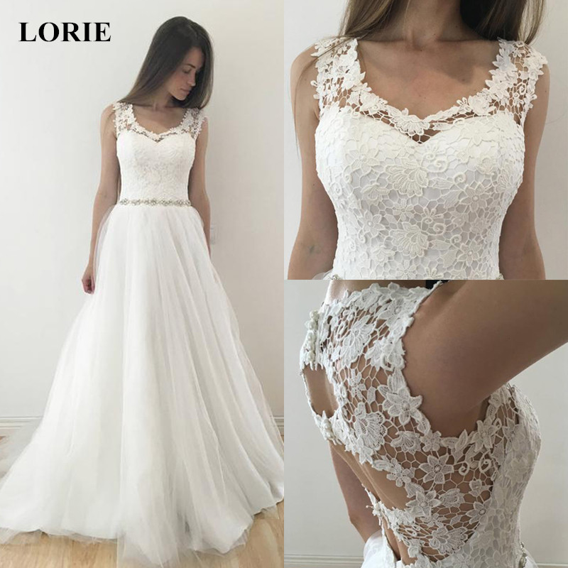 Lorie Lace Wedding Dresses 2019 Appliqued With Lace A Line: LORIE Wedding Dress 2019 A Line Top Lace Appliques And