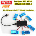 Free Shipping!6pcs 3.7V 800mAh Lipo Battery+6in1 Charger For SYMA X5C X5C-1 X5SW X5SC X5SC-1
