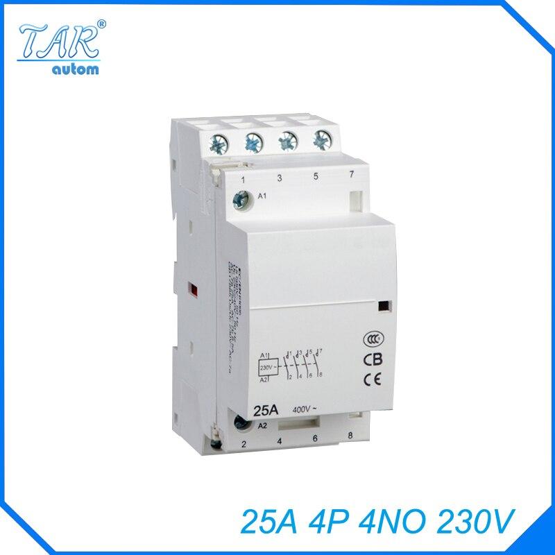 Livraison gratuite de haute qualité 50/60Hz 25A 4 P 4NO 230 V pôles ménage mini DIN Rail modulaire AC contacteur