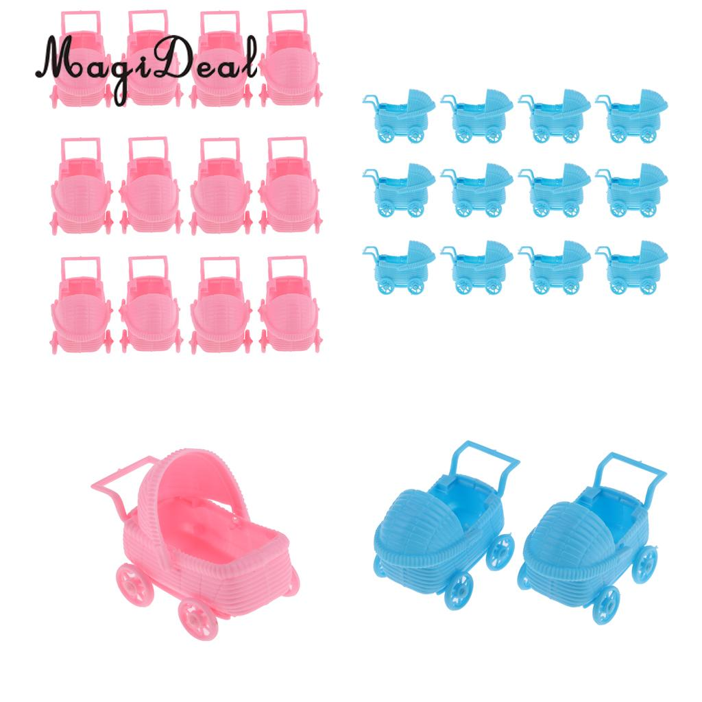 MagiDeal 12pcs/Set Plastic Baby Carriage Baby Shower Party Favor Table Decorations Pink/Blue baby toys
