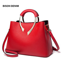 BISON DENIM Ladies' Genuine Leather Handbag Casual Tote Bag Female Shoulder Bags Luxury Handbags Women Bags designer N1482