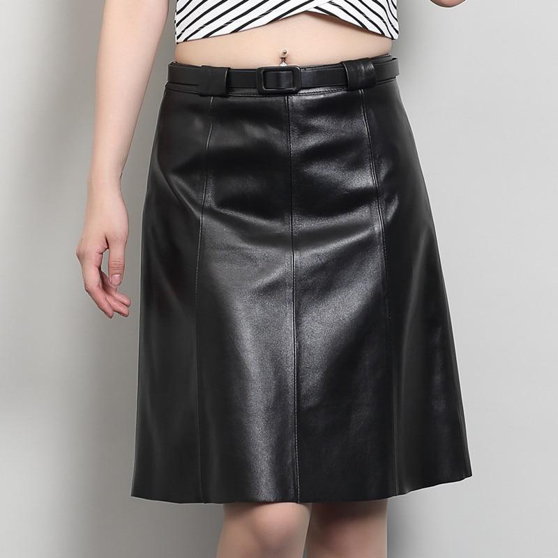 2017 fshion ladies genuine leather natural real sheepskin female women A-line skirt knee-length black plus size xxxl 2xl 3xl 4xl