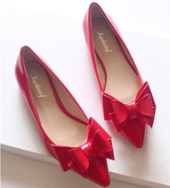 2d2015609 Big bow flat japanned leather red flat heel wedding shoes 2015 autumn  casual shoes pointed toe shoes women flats
